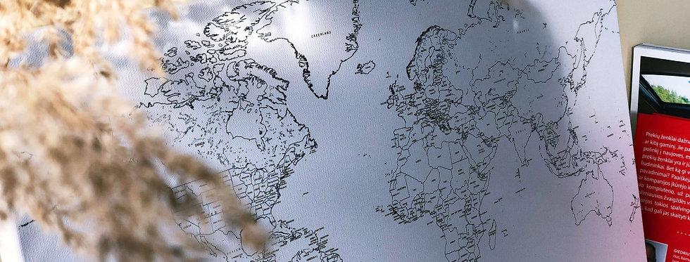 Baltas pasaulio žemėlapis (40x60 cm - nedetalus)