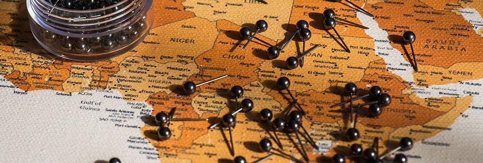 Metalo spalvos smeigtukai žemėlapiui