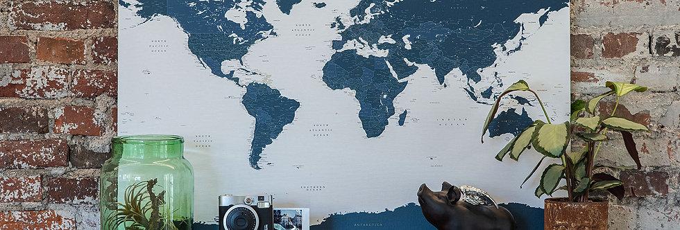 Mėlynas/baltas pasaulio žemėlapis ant drobės