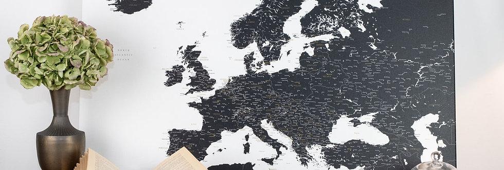 Juodas/baltas europos žemėlapis ant drobės