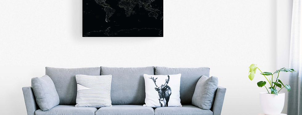 Juodas detalus pasaulio žemėlapis