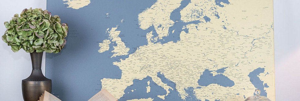 Tamsiai mėlynas europos žemėlapis ant drobės