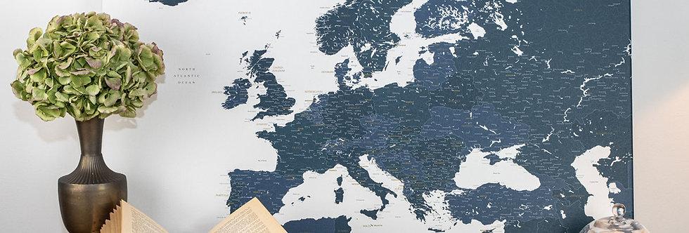 Mėlynas/baltas europos žemėlapis ant drobės