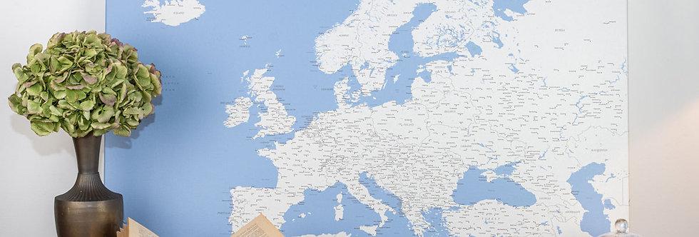 Šviesiai mėlynas europos žemėlapis