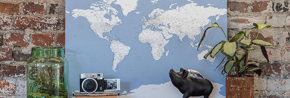 Šviesiai mėlynas pasaulio žemėlapis ant drobės