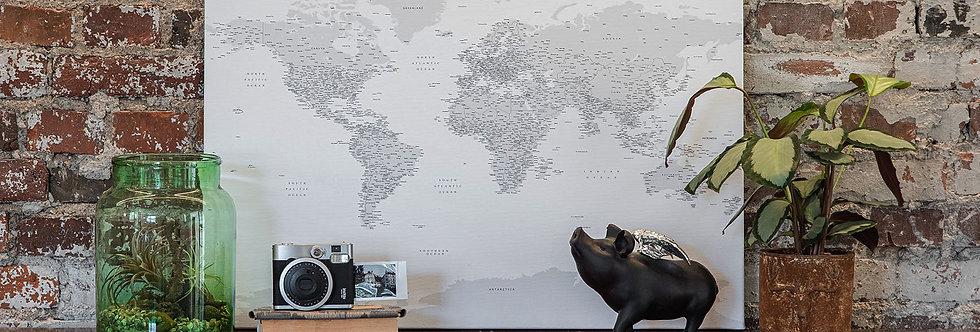 Pilkas/baltas pasaulio žemėlapis ant drobės