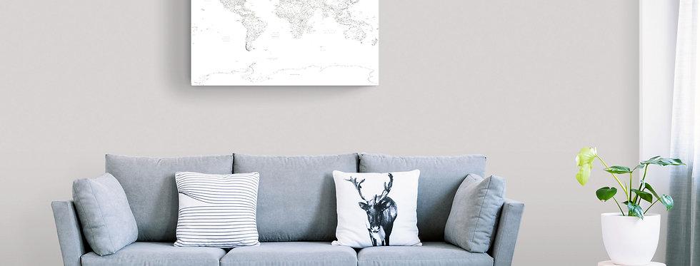 Baltas detalus pasaulio žemėlapis