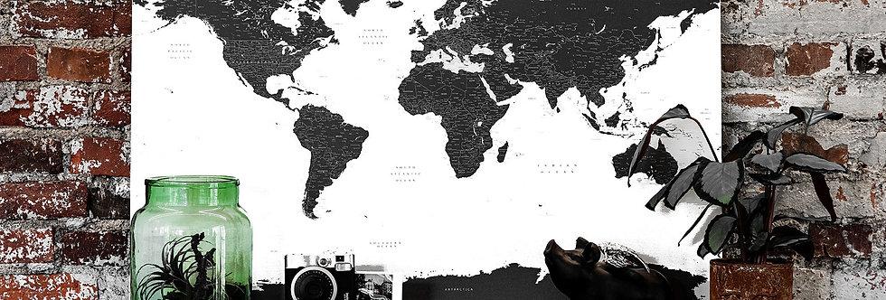 Juodas/baltas pasaulio žemėlapis ant drobės