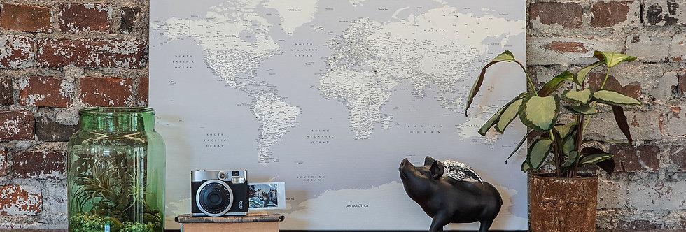 Šviesiai pilkas pasaulio žemėlapis ant drobės