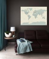 Žalsvas pasaulio žemėlapis ant drobės