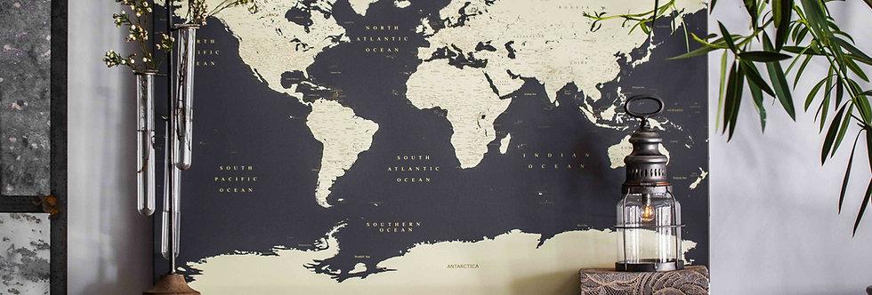 Tamsiai pilkas pasaulio žemėlapis ant drobės