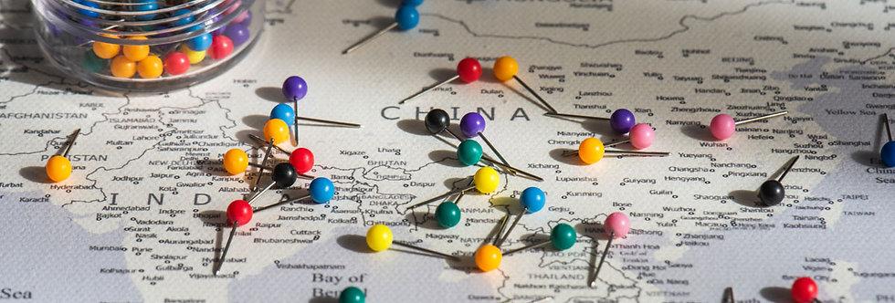 Spalvoti smeigtukai žemėlapiui