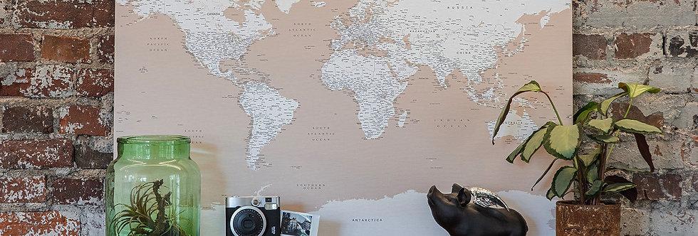 Smėlinis pasaulio žemėlapis ant drobės