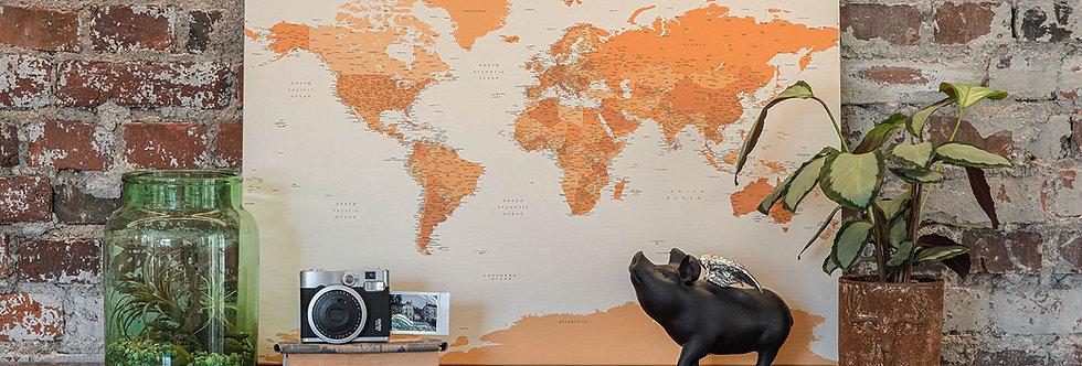 Šviesiai rudas pasaulio žemėlapis ant drobės