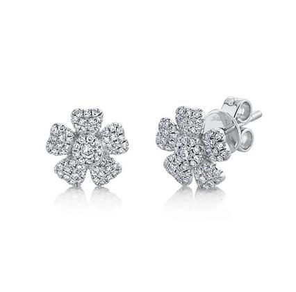 Diamond Pavé Flower Stud Earring