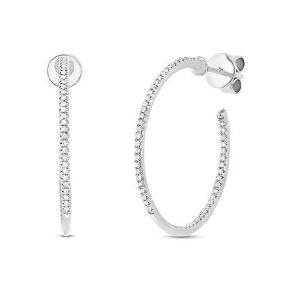 Slim Diamond Hoop Earring