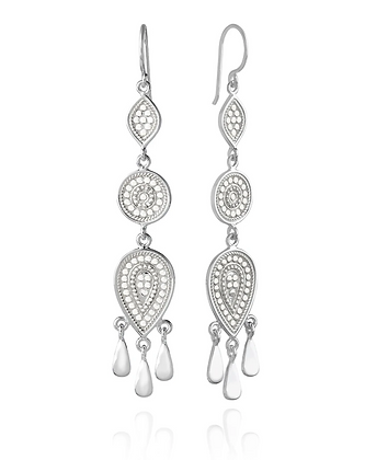 Beaded Triple Drop Fringe Earrings