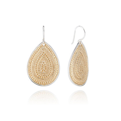 Signature Large Beaded Teardrop Earring - Gold