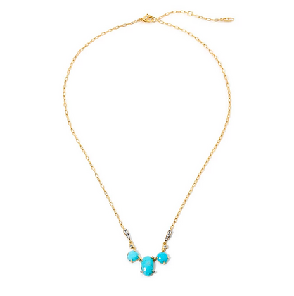 Agean Turquoise & White Topaz Frontal Necklace