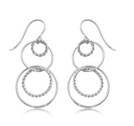 Sterling Silver Twist Double Duo Earring