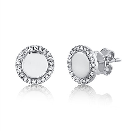 Polished Circle Earring - White
