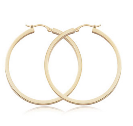 "1.5"" Square Tube Hoop Earring"