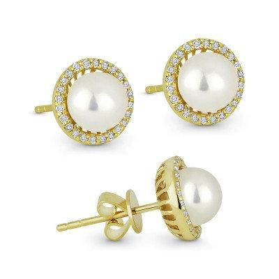 Pearl & Diamond Stud Earring