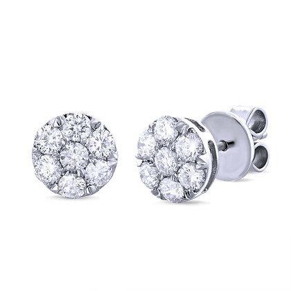 1.00ct Diamomd Cluster Stud Earrings