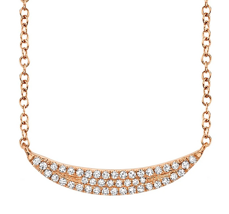 Pavé Crescent Necklace - Rose