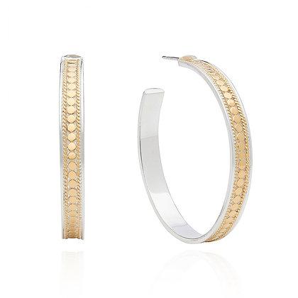 Large Beaded Hoop Post Earring - Gold
