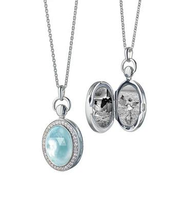 Blue Topaz & Mother Of Pearl Petite Stone Locket