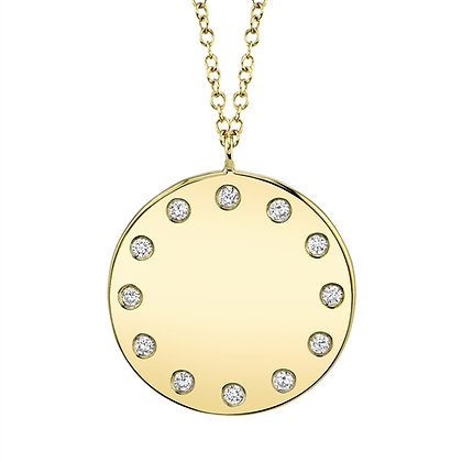 Studded Diamond Disc Pendant