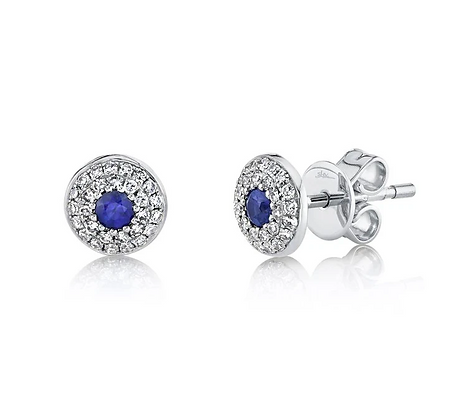 Sapphire Stud Earring With Pavé Halo