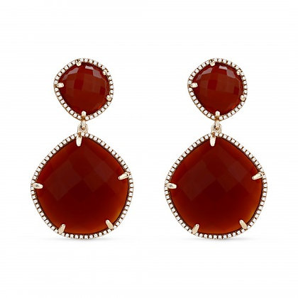 Faceted Red Agate Earring
