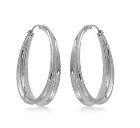 Sterling Silver Off Set Hoop Earring