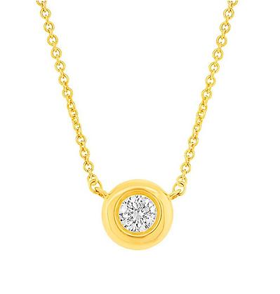 0.11ct Bezel Set Diamond Pendant - Yellow