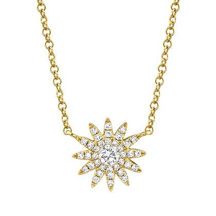 Petite Diamond Starburst Necklace - Yellow