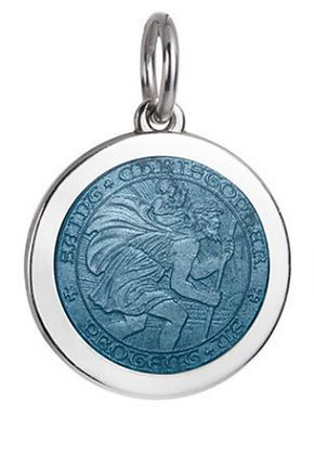 Medium Saint Christopher Pendant - Light Blue