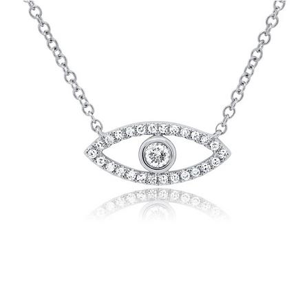 Bezel Evil Eye Necklace - White