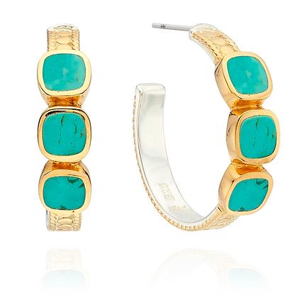 Turquoise Multi-Stone Hoop Earring