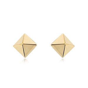 Pyramid Stud Earring (Yellow)