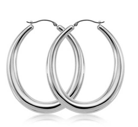 Sterling Silver Large Oval Hoop Earring