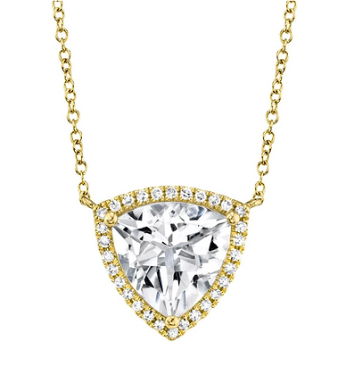 White Topaz Triangle Necklace
