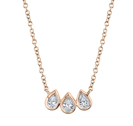 Diamond Pear Necklace - Rose
