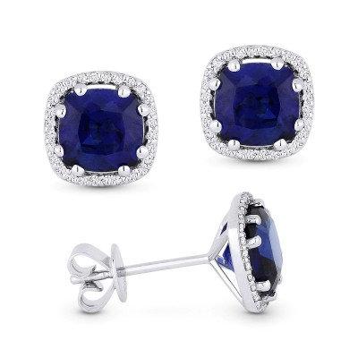 Created Cushion Sapphire Stud Earring