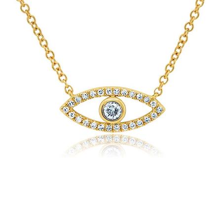 Bezel Evil Eye Necklace - Yellow