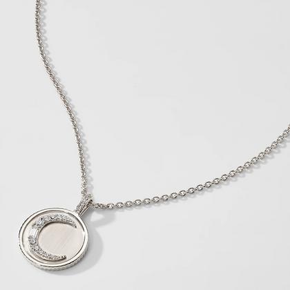 Crescent Medallion Pendant - Silver