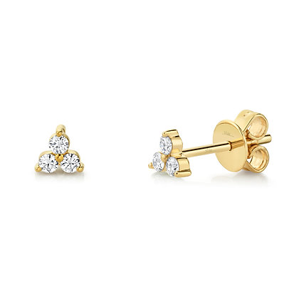 Triple Diamond Stud Earring