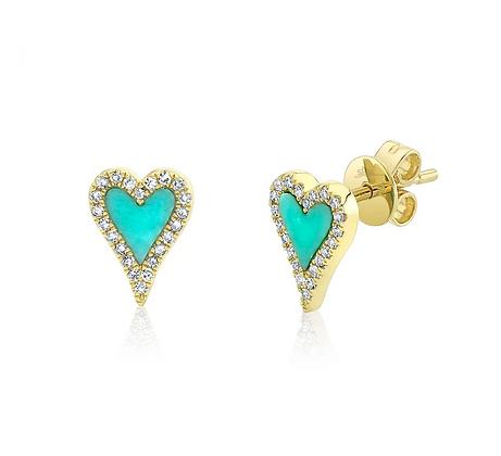 Turuoise Heart Stud Earring