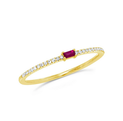 Baguette Ruby Stack Band - Yellow